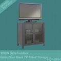 Black Glass Door Steel TV Stand Cabinet YCY-0804