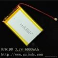 3.7v Li-ion battery with 6000mAh