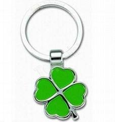 Green Leaf Metal Keychains