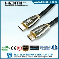 Certificated 1.4V HDMI Cable Gold Plated Metal Shell