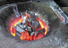 Mains frequency induction copper melting furnace