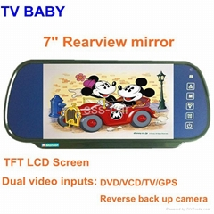 7'' Rearview mirror tft lcd monitor support dual video inputs