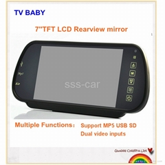 7 inch Rearview mirror monitor support MP5 function