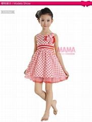 聽媽媽話 外貿童裙批發 2013新款經典格子天絲棉夏裝童裙1315A