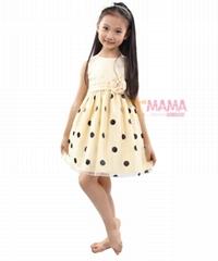 听妈妈话 女童裙夏装裙子 2013新款欧美玻璃丝波点儿童连衣裙904