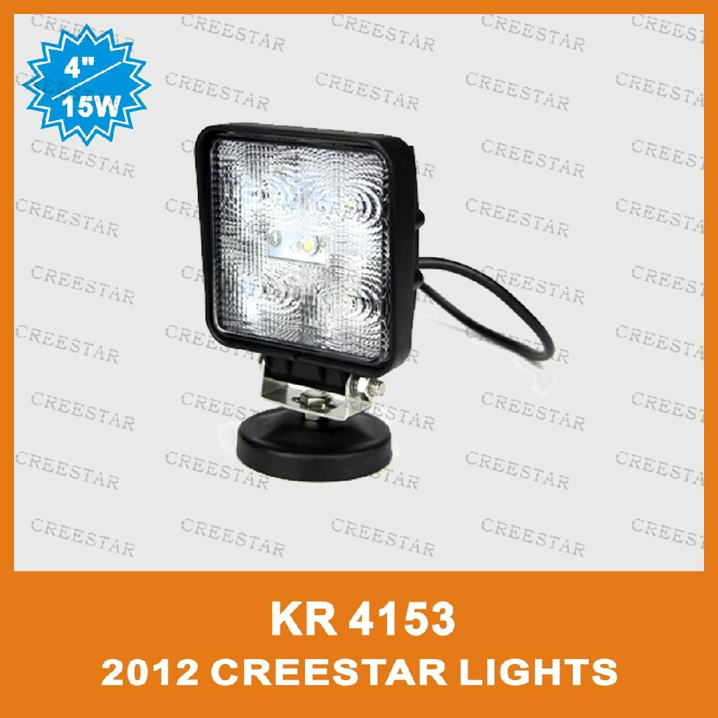 "15W 4"" Square LED Work Spot light for Truck Trailer SUV JEEP Off-road Boat 3"