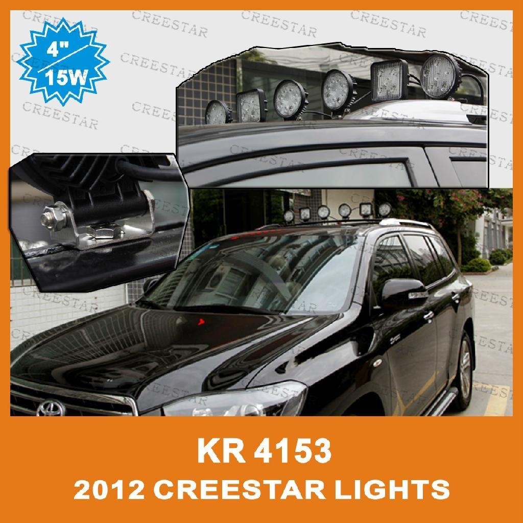 """15W 4"""" Square LED Work Spot light for Truck Trailer SUV JEEP Off-road Boat 4"""