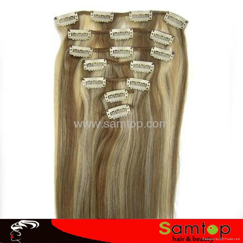 Wholesale Price  virgin clip in hair extension 1