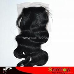 "12""4*4 120% 1B Hot fashion human hair silk base lace closure"