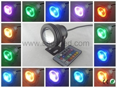 DC12V 16 Colors 10w led underwater light with remote control
