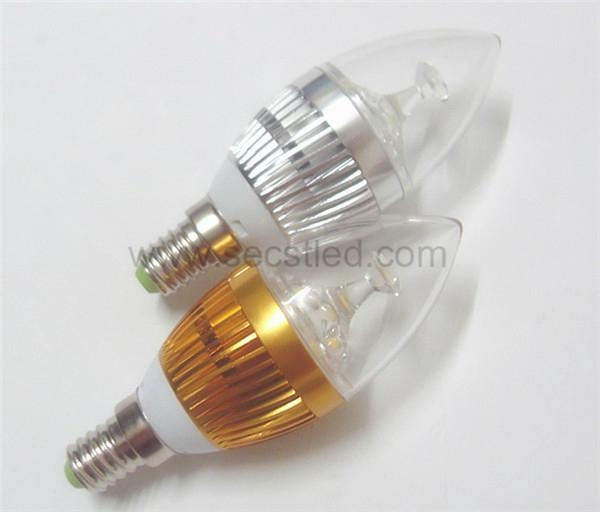 E14 AC85-265V 300lm warm white white 3w led candle bulb  1