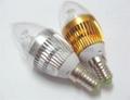 E14 AC85-265V 300lm warm white white 3w led candle bulb  2