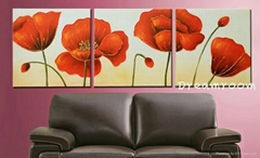 Hand painted flower oil paintings on canvas
