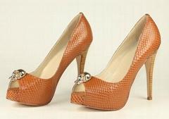 Fashion Leather Platform High Heel Dress Shoes Women