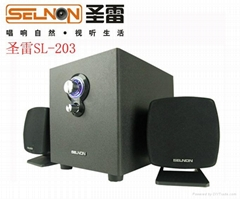 聖雷SL-203木質2.1有源電腦音箱