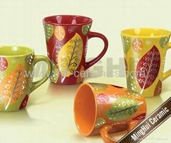 ceramic conical mug with decal
