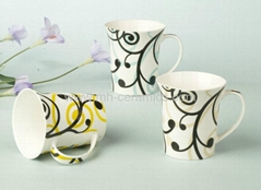 white mugs with decal