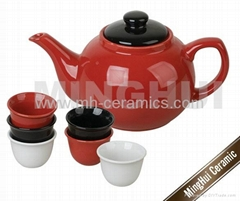 Teapots full sets with 6 different color teacups