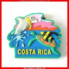 Costa Rica souvenir 3D soft pvc fridge magnet with rubber magnet