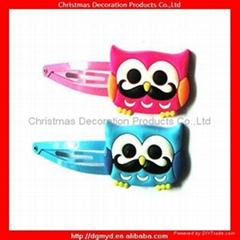 Mustache 3D soft pvc hair clips for girls