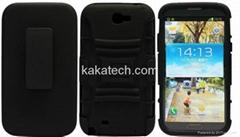 Black Hybrid Rugged Kickstand Heavy Duty Belt Clip Case For Galaxy Note 2 N7100