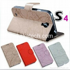 Lightning line PU leather Case with Card Holder For Samsung Galaxy S4 I9500