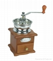 Manual wood coffee grinder mill