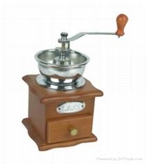 Manual wood coffee grinder mill