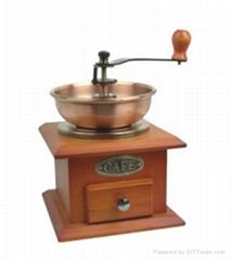Manual wood coffee machine grinder