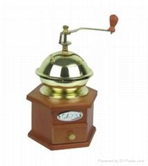 Manual wood coffee machine mill