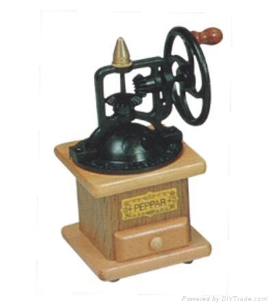 Manual wood coffee machine mill 1