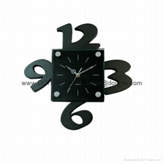 3D Black Big Numbers Glass Wall Clock GA0024A