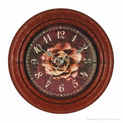 Dark Red Vintage Roses Circular Pattern Colors Clock AN0028C