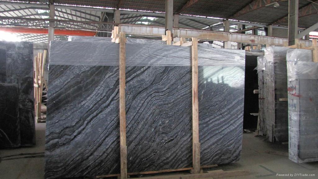 Black Granite Slabs Product : Antique black wood grain marble big slab