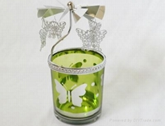 glass cup windmill candle holder
