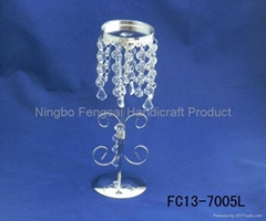 Metal candle holder with diamond beads