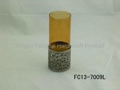 Nickeling metal base brown glass tube candle holder