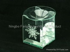 Glass candle holder with crystal beads