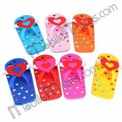 New Design Cute Love Heart Slipper Soft Silicone Case for iPhone5
