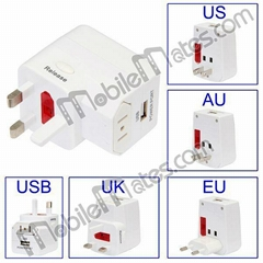 High Quality 4 In 1 UK EU US AU Universal Travel Power Plug Adapter With One USB