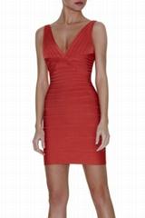 Red V-neck celebrity dress for party