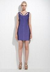 Purple round neck women's sheath dresses
