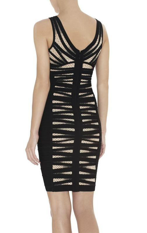 ladies round neck party dress with beads 4