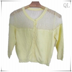 Yellow knitted sweater lace design fashionable 2013