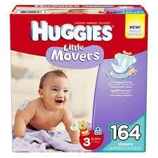Hug-gies Little Mo-vers Diapers Size 3 - 16-28 lbs Big Pack -- 72 Diapers