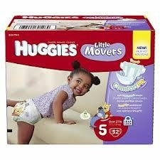 Hug-gies Little Mo-vers Diapers Size 5 - Over 27 lbs Big Pack -- 52 Diapers