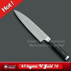 Tiny wave chef damascus knife micarta handle knife