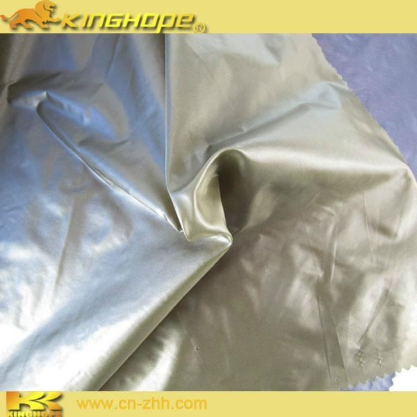 Nylon glint fabric PU milky coating for down jacket 1