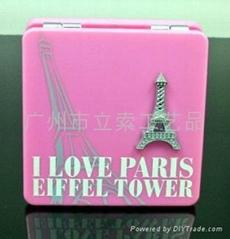 印刷花纹巴黎铁塔方形双面化妆镜