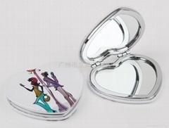 金属印刷心形化妆镜